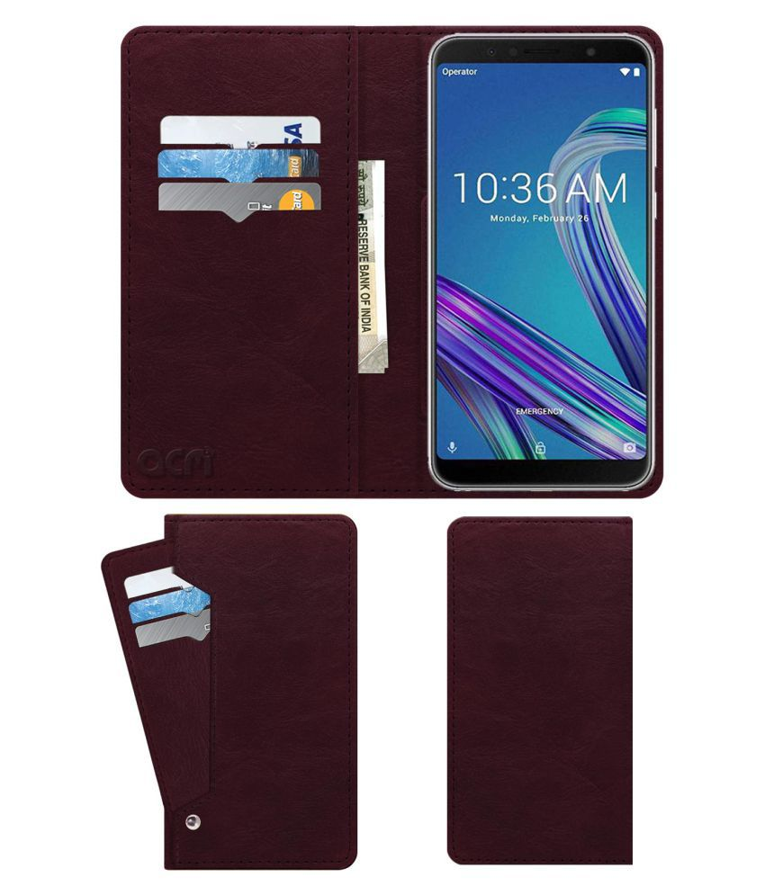 Asus Zenfone Max Pro Flip Cover by ACM - Red Wallet Case,Can store 6 Card & Cash,Burgundy Red