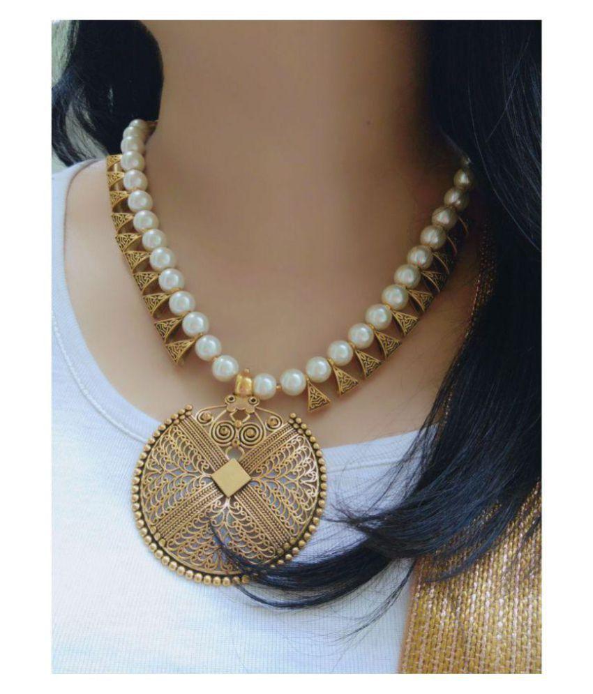 757ded227 Bhagya Lakshmi Alloy White Contemporary Contemporary Fashion Antique  Necklaces Set ...