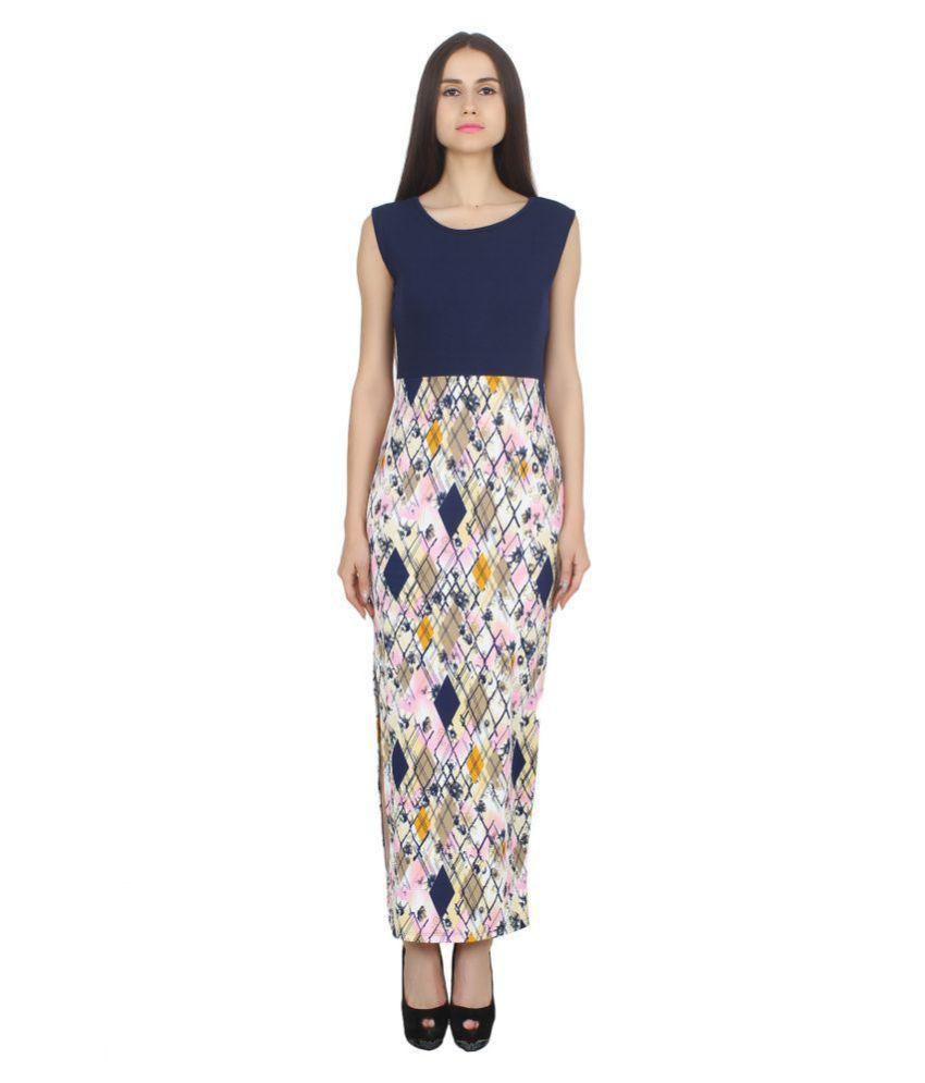 CJ15 Cotton Lycra Multi Color Bodycon Dress