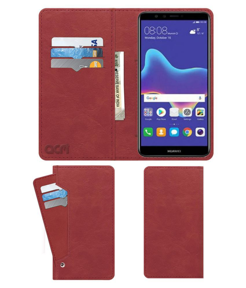 Huawei Enjoy 8 Plus Flip Cover by ACM - Pink Wallet Case,Can store 6 Card & Cash,Peach Pink