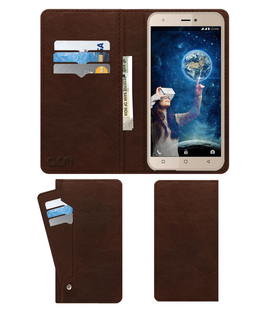 Intex Aqua 5.5 VR+ Flip Cover by ACM - Brown Wallet Case,Can store 6 Card & Cash,Rich Brown
