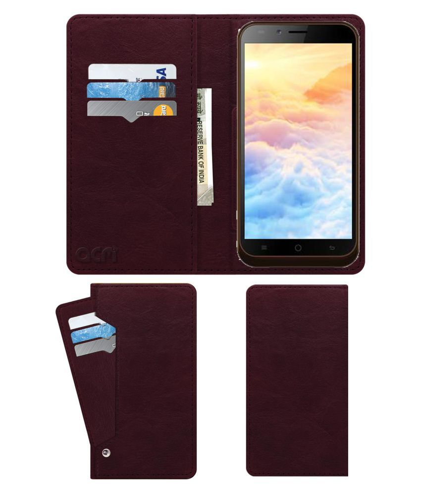 Karbonn Aura Note 2 Flip Cover by ACM - Red Wallet Case,Can store 6 Card & Cash,Burgundy Red