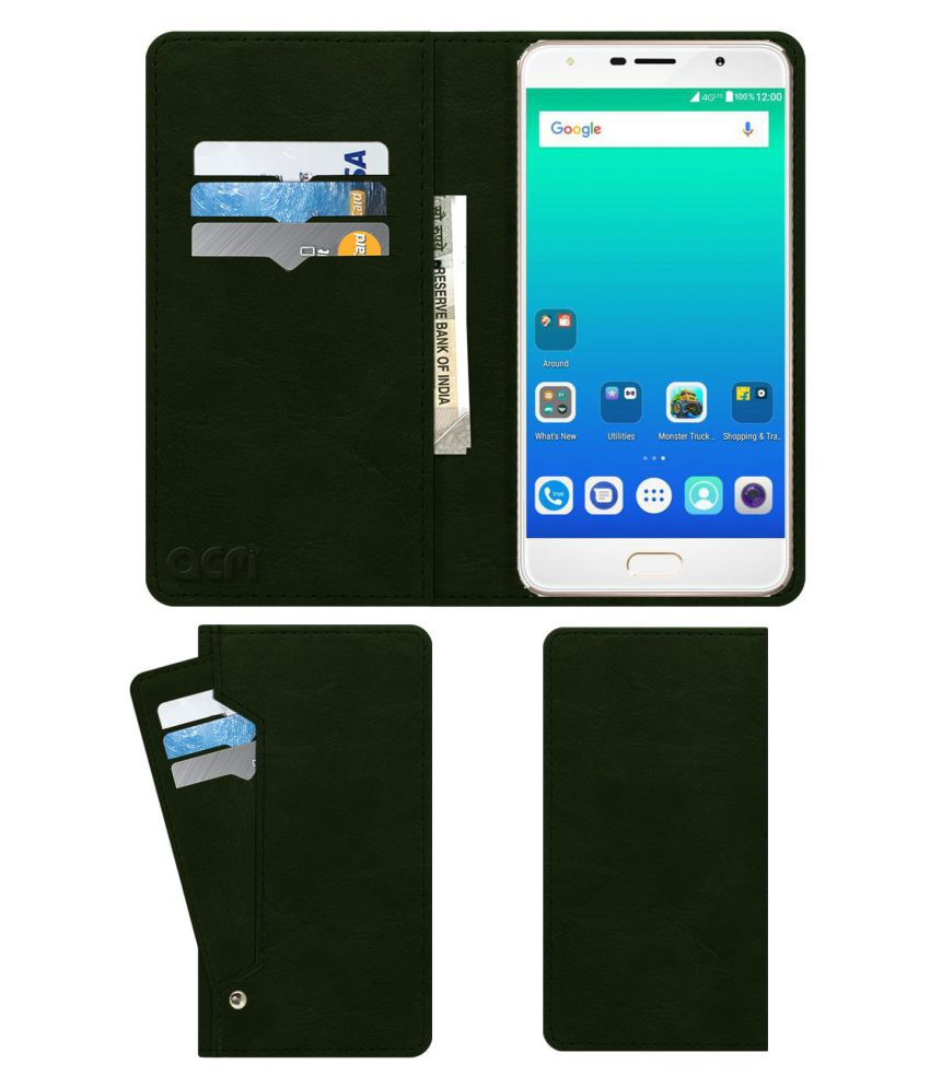 Micromax Evok Dual Note Flip Cover by ACM - Green Wallet Case,Can store 6 Card & Cash,Teal Green