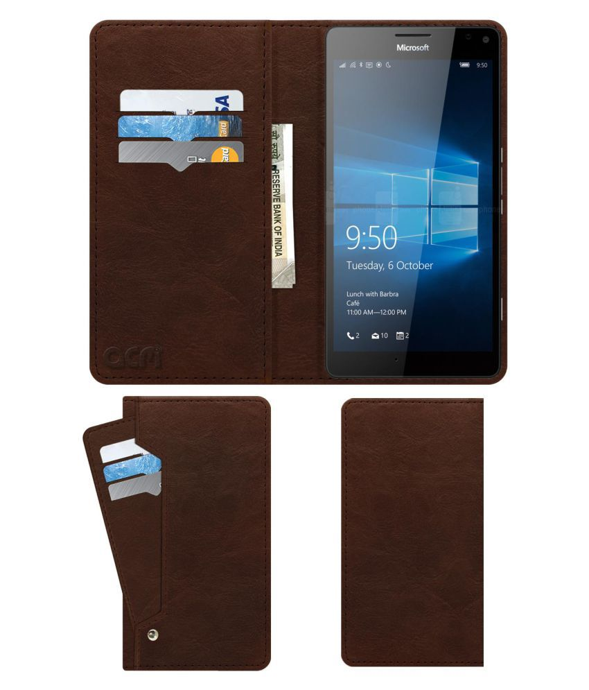 Microsoft Lumia 950 XL Flip Cover by ACM - Brown Wallet Case,Can store 6 Card & Cash,Rich Brown