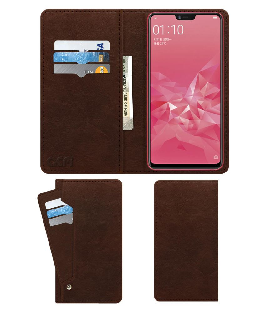 OPPO A3 Flip Cover by ACM - Brown Wallet Case,Can store 6 Card & Cash,Rich Brown