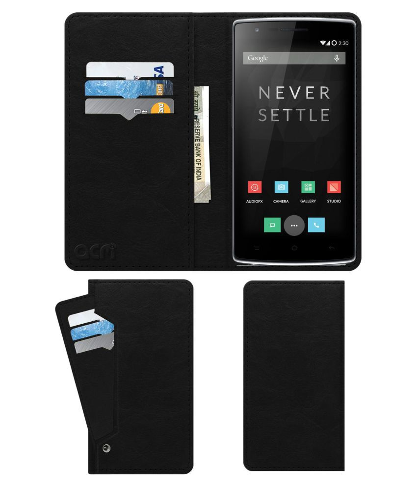 OnePlus One Flip Cover by ACM - Black Wallet Case,Can store 6 Card & Cash,Royal Black