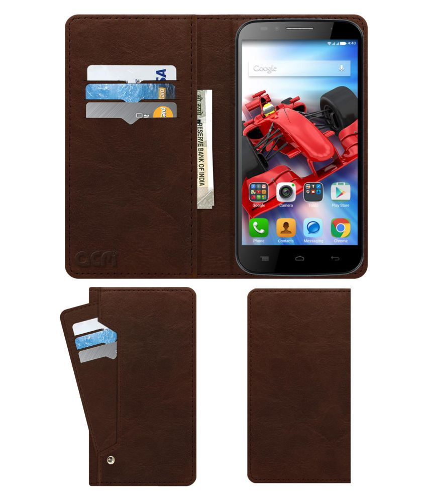 Panasonic Eluga Icon Flip Cover by ACM - Brown Wallet Case,Can store 6 Card & Cash,Rich Brown