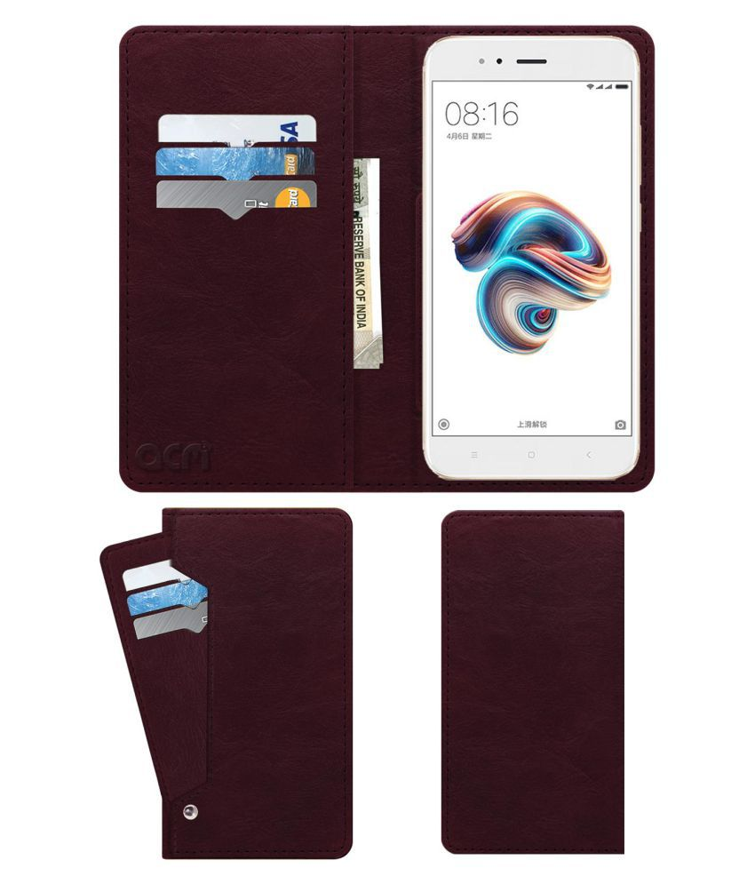 Xiaomi MI A1 Flip Cover by ACM - Red Wallet Case,Can store 6 Card & Cash,Burgundy Red