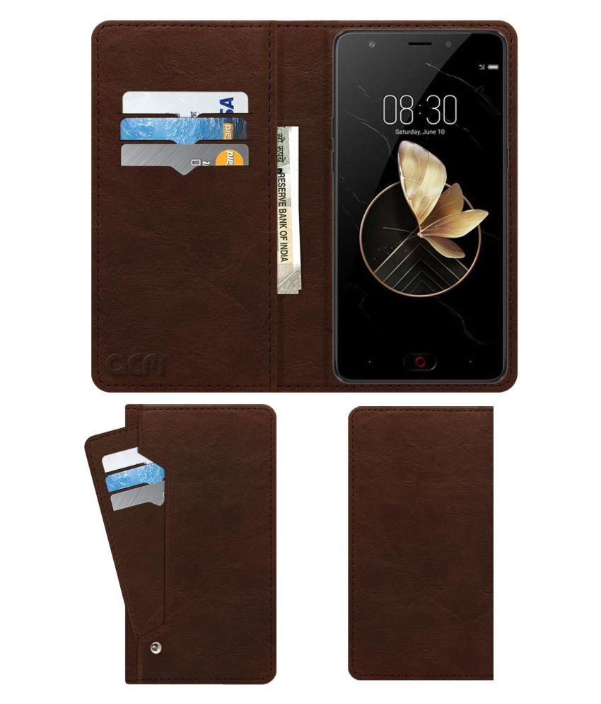ZTE Nubia M2 Play Flip Cover by ACM - Brown Wallet Case,Can store 6 Card & Cash,Rich Brown