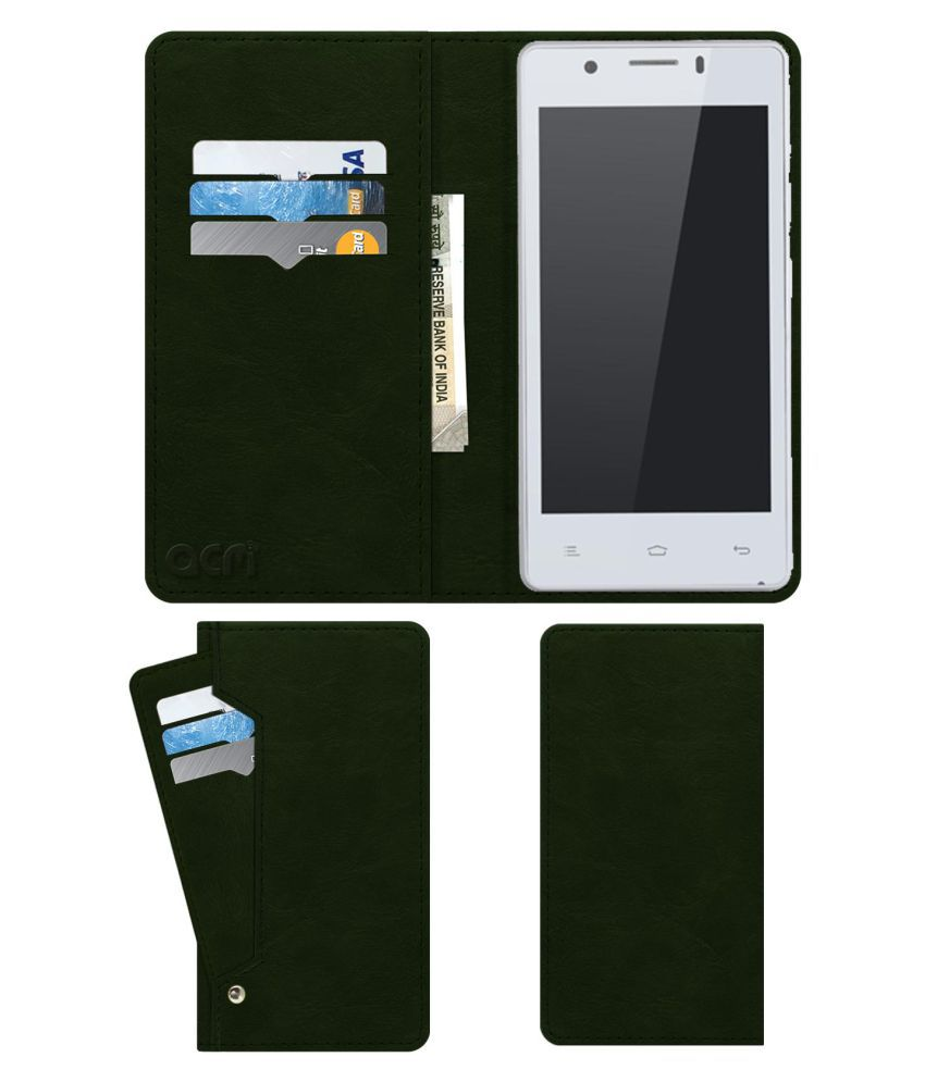 Gionee Pioneer P4 Flip Cover by ACM - Green Wallet Case,Can store 6 Card & Cash,Teal Green