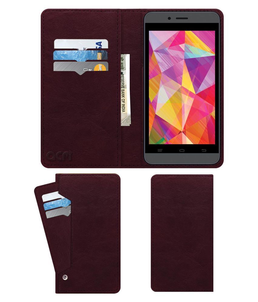 Intex Aqua Q7 Flip Cover by ACM - Red Wallet Case,Can store 6 Card & Cash,Burgundy Red