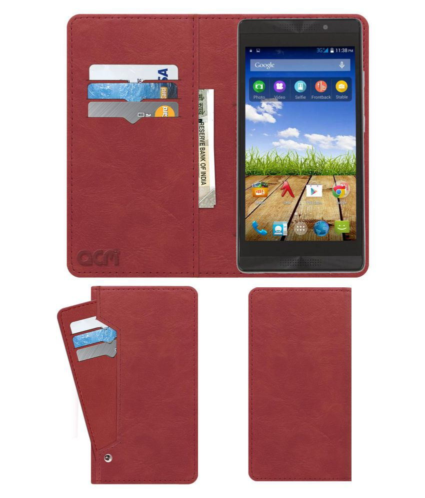 size 40 38cea 7c3d9 Micromax Canvas Fire 4G Plus Q412 Flip Cover by ACM - Pink Wallet Case,Can  store 6 Card & Cash,Peach Pink