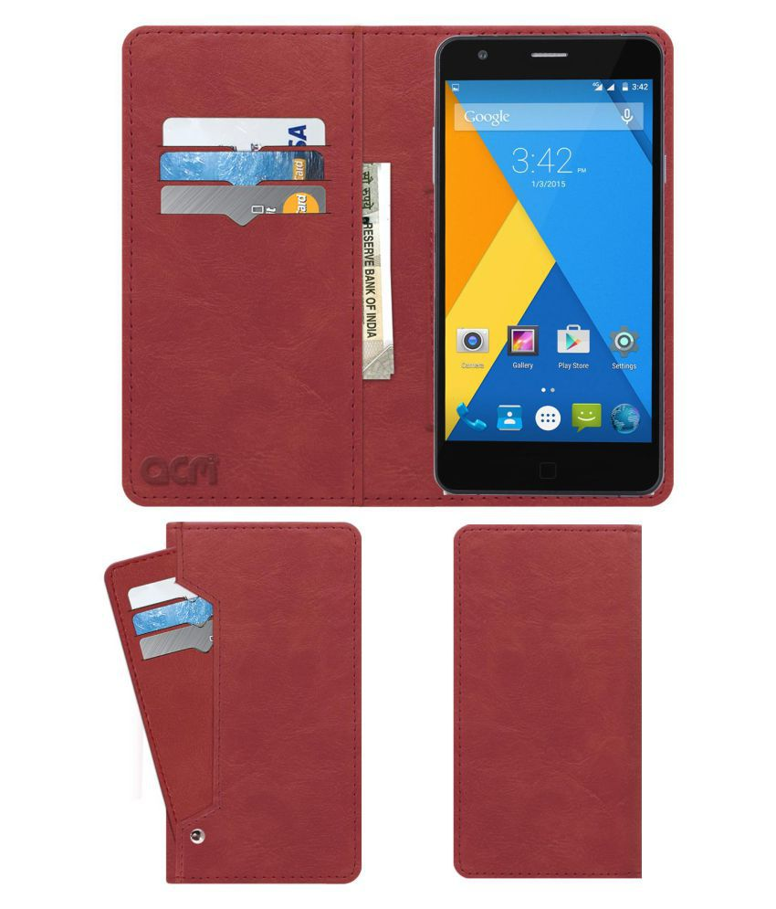 Micromax Yu Yuphoria Flip Cover by ACM - Pink Wallet Case,Can store 6 Card & Cash,Peach Pink