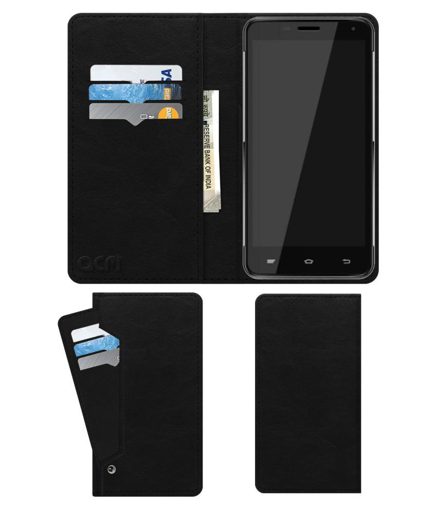 Obi Leopard S502 Flip Cover by ACM - Black Wallet Case,Can store 6 Card & Cash,Royal Black