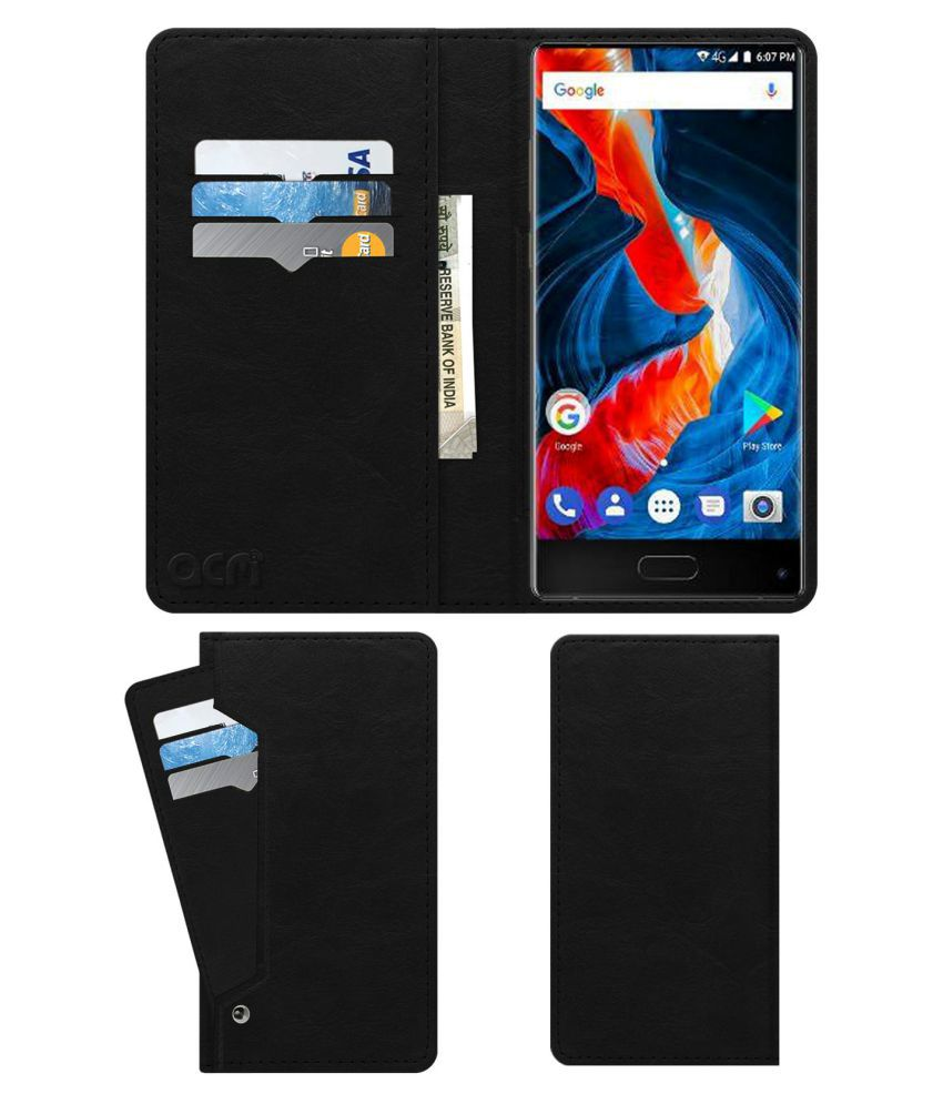 Ulefone MIX Flip Cover by ACM - Black Wallet Case,Can store 6 Card & Cash,Royal Black