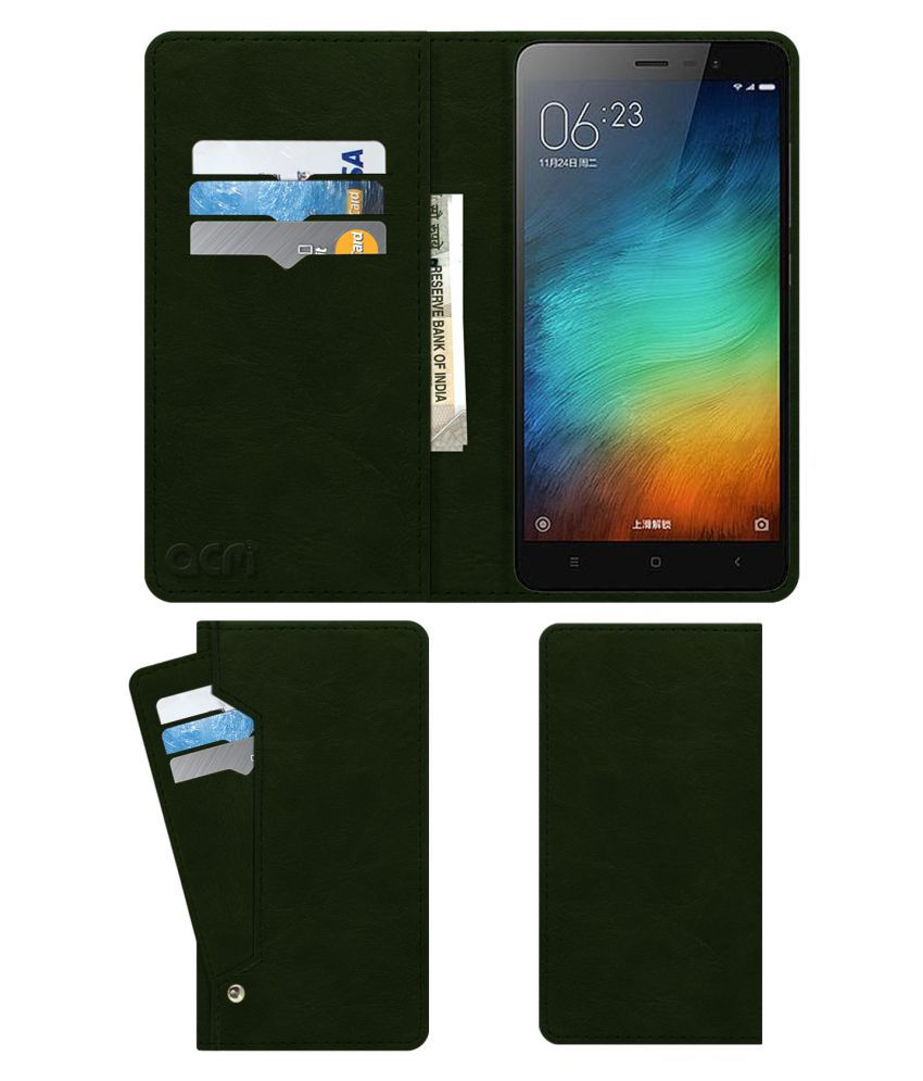 Xiaomi Redmi 3s Plus Flip Cover by ACM - Green Wallet Case,Can store 6 Card & Cash,Teal Green