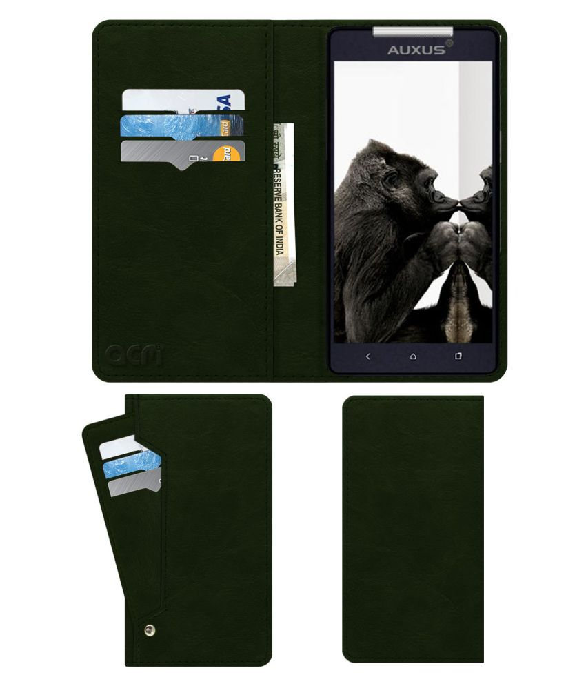 iBerry Auxus Nuclea N1 Flip Cover by ACM - Green Wallet Case,Can store 6 Card & Cash,Teal Green