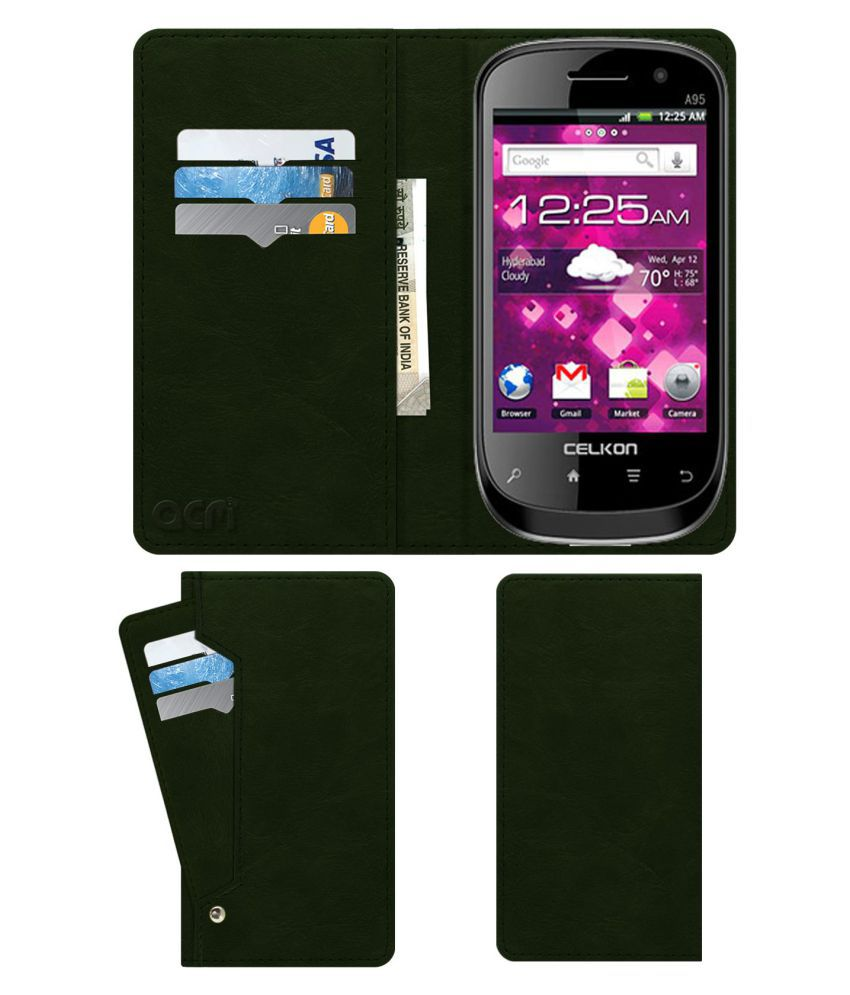 Celkon A95 Flip Cover by ACM - Green Wallet Case,Can store 6 Card & Cash,Teal Green