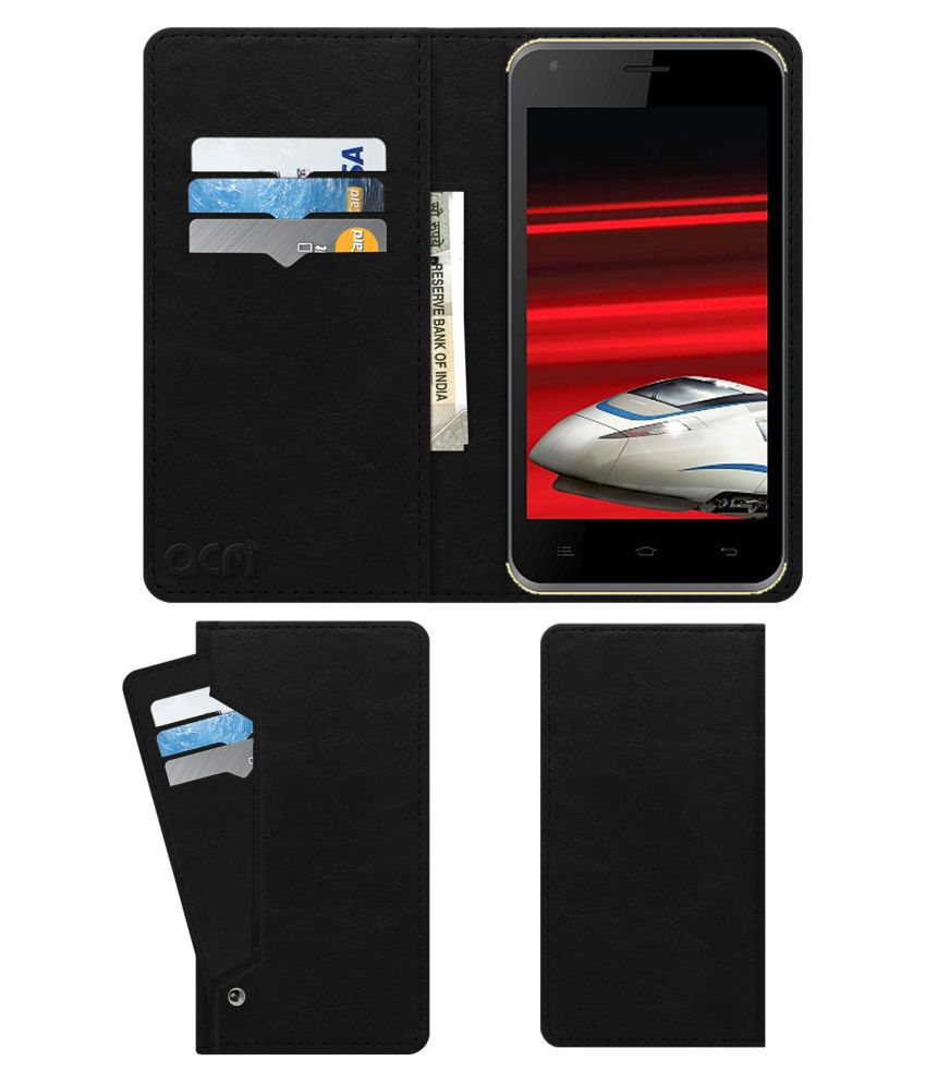 Celkon Millennia 2GB Xpress Flip Cover by ACM - Black Wallet Case,Can store 6 Card & Cash,Royal Black