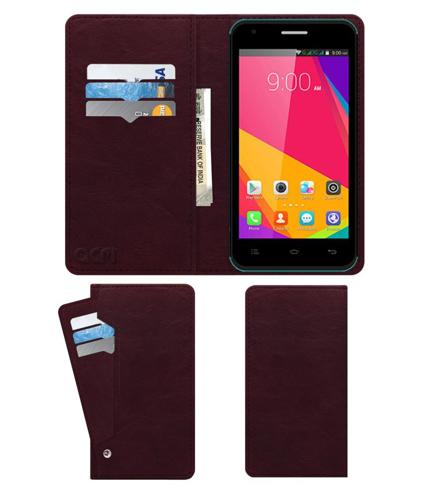 Celkon Millennia Q452 Flip Cover by ACM - Red Wallet Case,Can store 6 Card & Cash,Burgundy Red