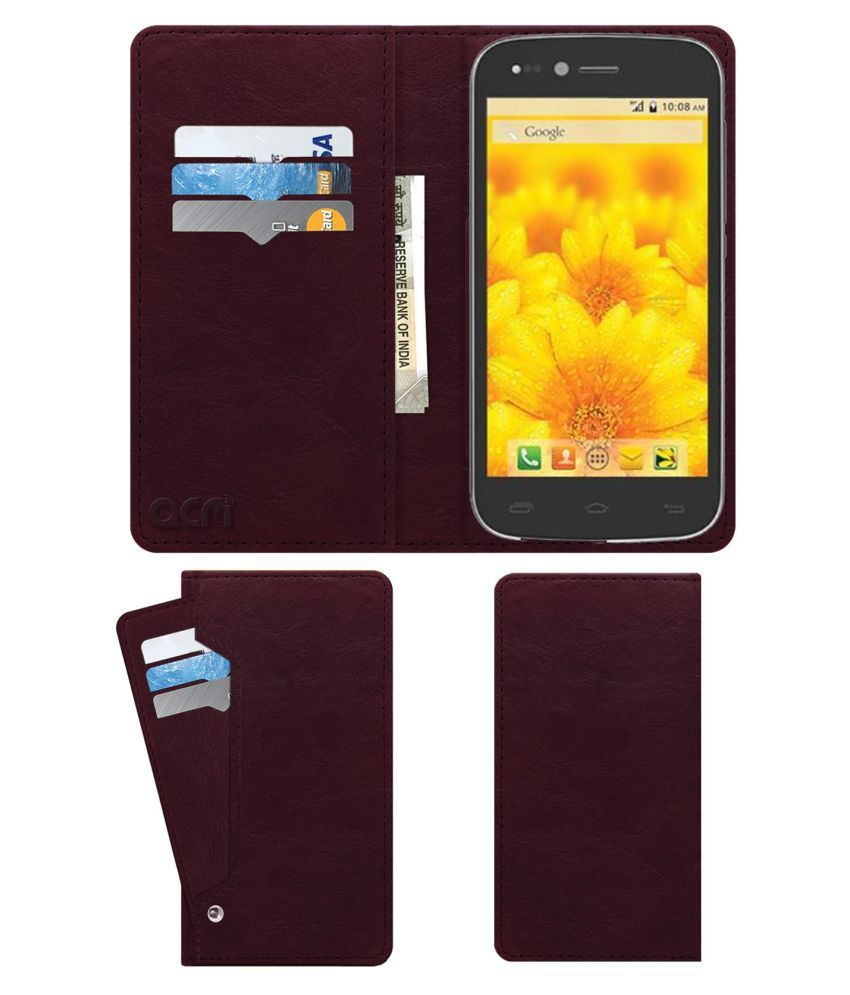 Intex Aqua Slice Flip Cover by ACM - Red Wallet Case,Can store 6 Card & Cash,Burgundy Red