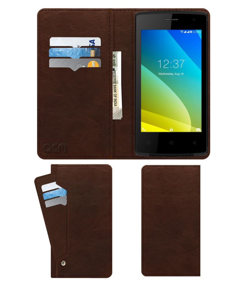 Intex Cloud C1 Flip Cover by ACM - Brown Wallet Case,Can store 6 Card & Cash,Rich Brown