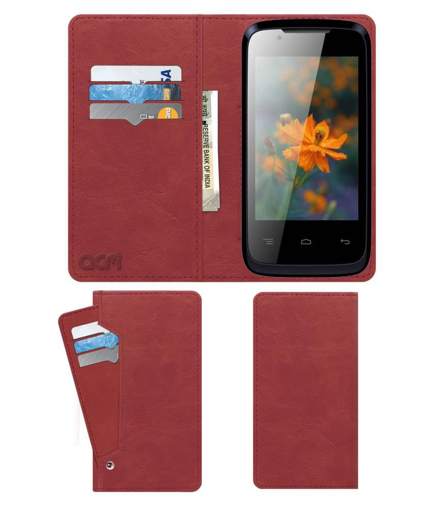 Lava Iris 356 Flip Cover by ACM - Pink Wallet Case,Can store 6 Card & Cash,Peach Pink