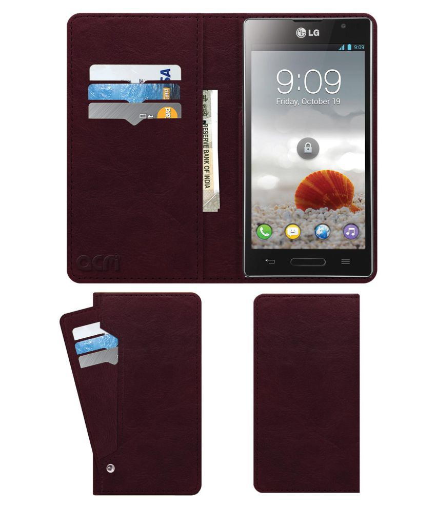 Lg Optimus L9 P765 Flip Cover by ACM - Red Wallet Case,Can store 6 Card & Cash,Burgundy Red