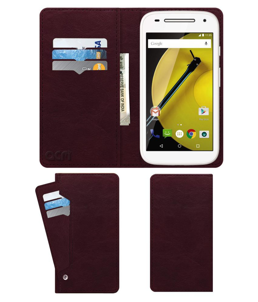 Moto E (2nd Gen) 4G Flip Cover by ACM - Red Wallet Case,Can store 6 Card & Cash,Burgundy Red