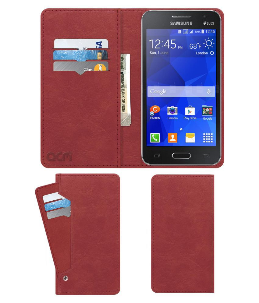 buy online d888d 949f5 Samsung Galaxy Core 2 Flip Cover by ACM - Pink Wallet Case,Can store 6 Card  & Cash,Peach Pink