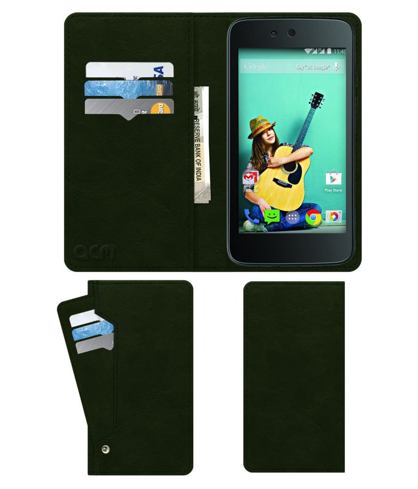 Spice Dream Uno Mi-498 Flip Cover by ACM - Green Wallet Case,Can store 6 Card & Cash,Teal Green