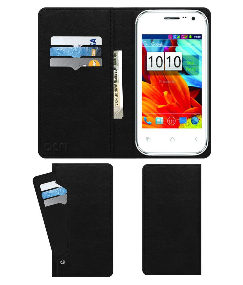 Videocon A15f Flip Cover by ACM - Black Wallet Case,Can store 6 Card & Cash,Royal Black