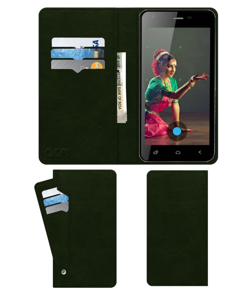 Zen Ultrafone 402 Pro Flip Cover by ACM - Green Wallet Case,Can store 6 Card & Cash,Teal Green