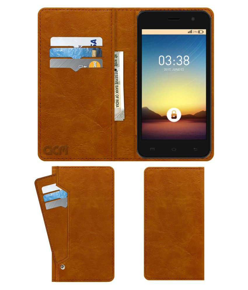 Ziox Astra Champ Plus 4G Flip Cover by ACM - Golden Wallet Case,Can store 6 Card & Cash,Classic Golden