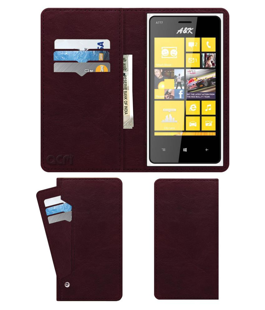 AK 777 Flip Cover by ACM - Red Wallet Case,Can store 6 Card & Cash,Burgundy Red
