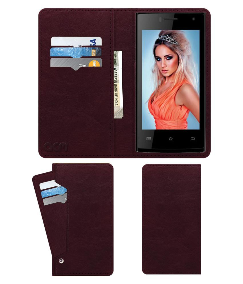Celkon Q40 (4GB) Flip Cover by ACM - Red Wallet Case,Can store 6 Card & Cash,Burgundy Red