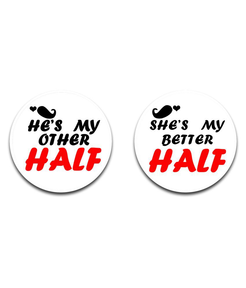 EFW BUTTON BADGE HE IS MY OTHER HALF, SHE IS MY BETTER HALF