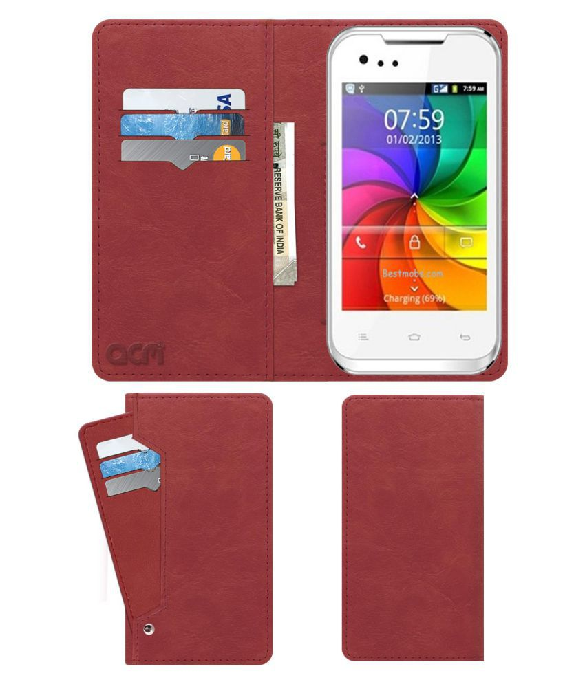 Gionee P1 Flip Cover by ACM - Pink Wallet Case,Can store 6 Card & Cash,Peach Pink