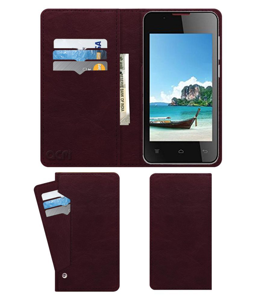 Intex Aqua Wave Flip Cover by ACM - Red Wallet Case,Can store 6 Card & Cash,Burgundy Red