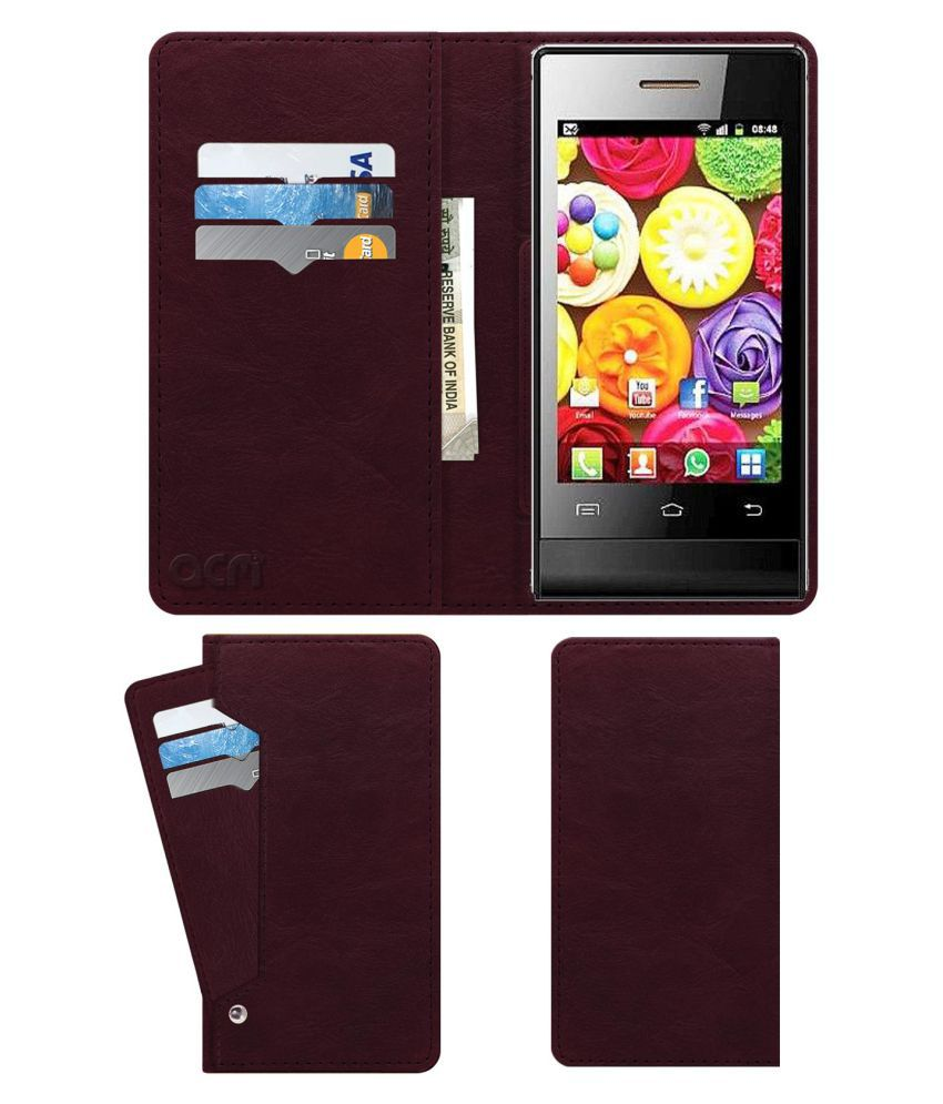 Jivi Jsp 20 Flip Cover by ACM - Red Wallet Case,Can store 6 Card & Cash,Burgundy Red
