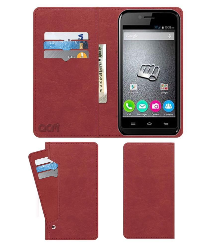 Micromax Bolt S301 Flip Cover by ACM - Pink Wallet Case,Can store 6 Card & Cash,Peach Pink