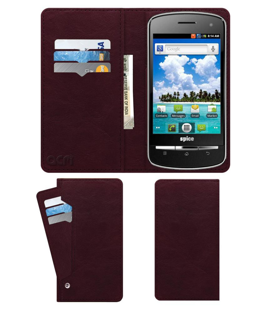 Spice Mi-350 Flip Cover by ACM - Red Wallet Case,Can store 6 Card & Cash,Burgundy Red