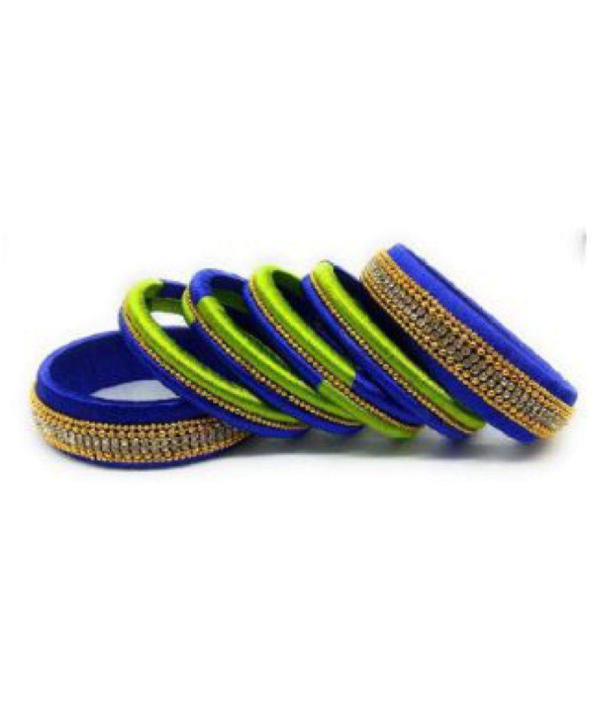 K3-Royal Blue-Green Silk Thread Bangles