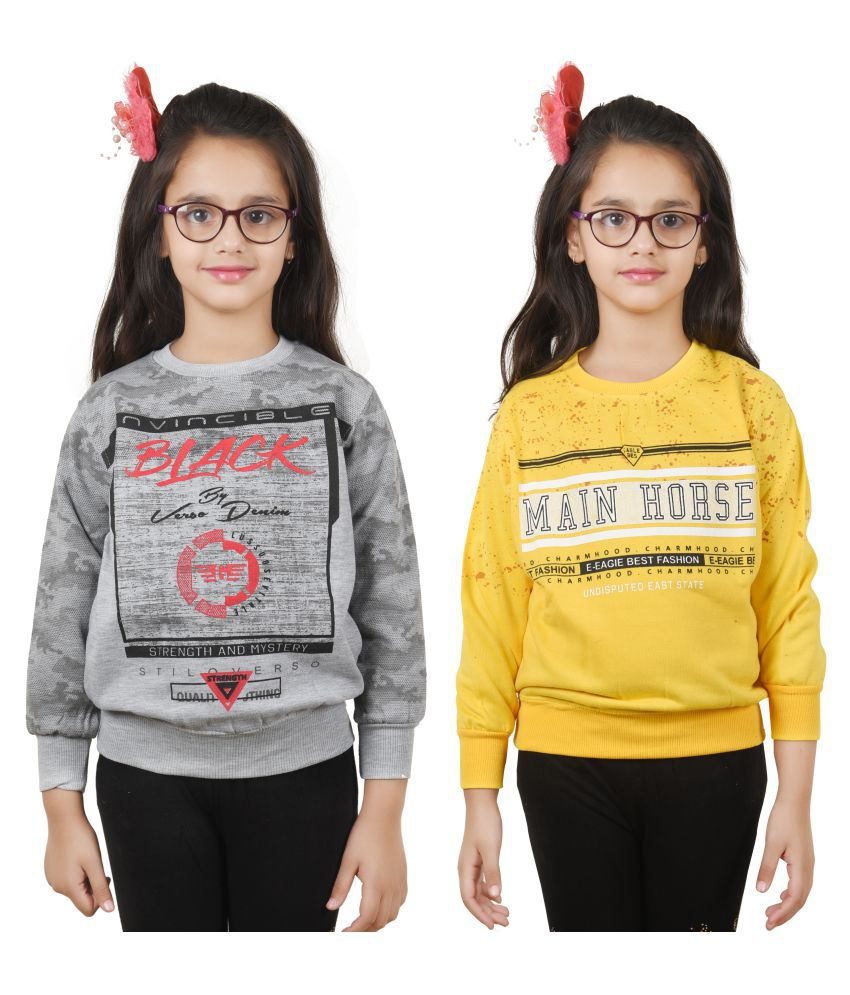 Ziva Fashion Girls Winter Sweatshirt(pack of 2)