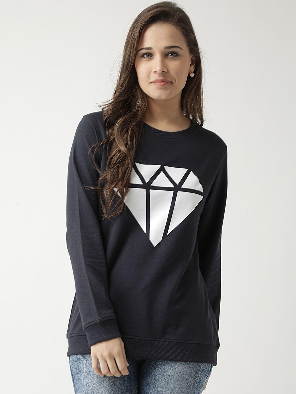 Club York Cotton Navy Non Hooded Sweatshirt