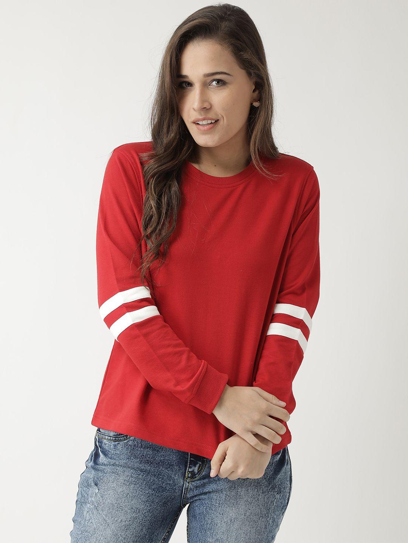 Club York Cotton Red Non Hooded Sweatshirt