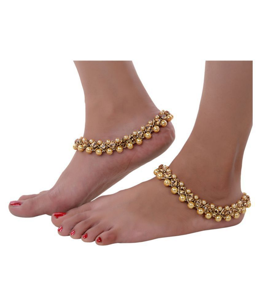 Lucky Jewellery Designer Golden Color Antique Polish Anklet Payal Pair Of One For Girls & Women