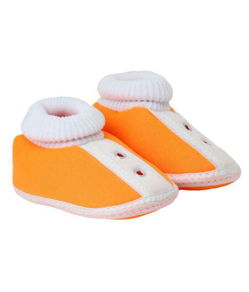 Neska Moda Baby Infant Soft Orange Booties-12 CM Length For Age Group 6 - 18 Months