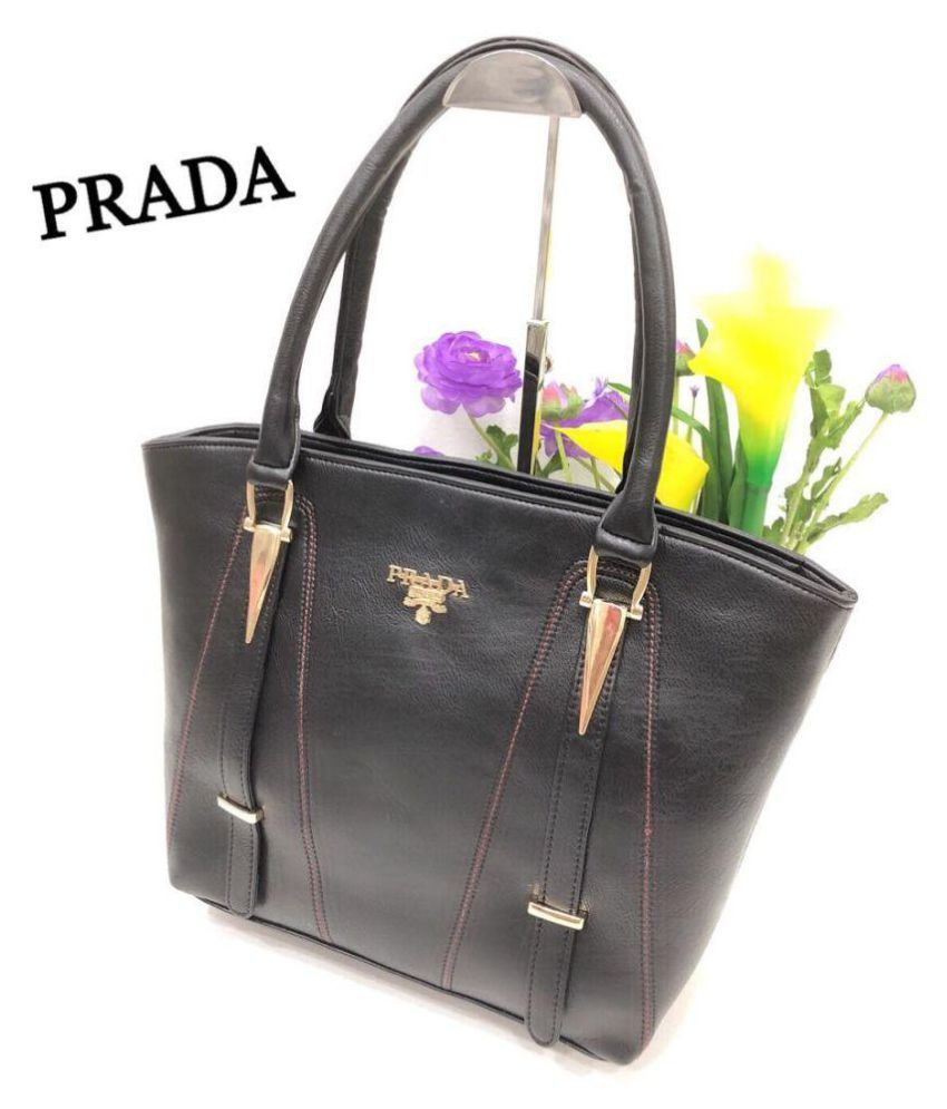 17d2bbc32e3c Prada Black Rexin Shoulder Bag - Buy Prada Black Rexin Shoulder Bag Online  at Best Prices in India on Snapdeal