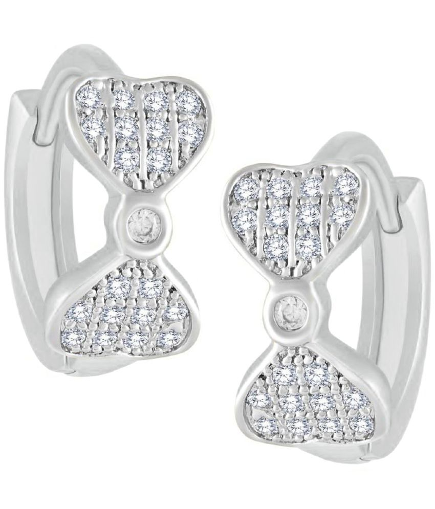 VK Jewels Bow Shaped Rhodium Plated Alloy CZ American Diamond Huggie Bali Earring for Girls & Women [VKBALI1103R]